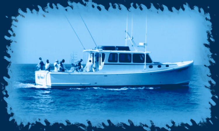 """Fishing Charter On 42ft """"Lady Grace V"""" Trawler In Copaigue Harbor, New York"""