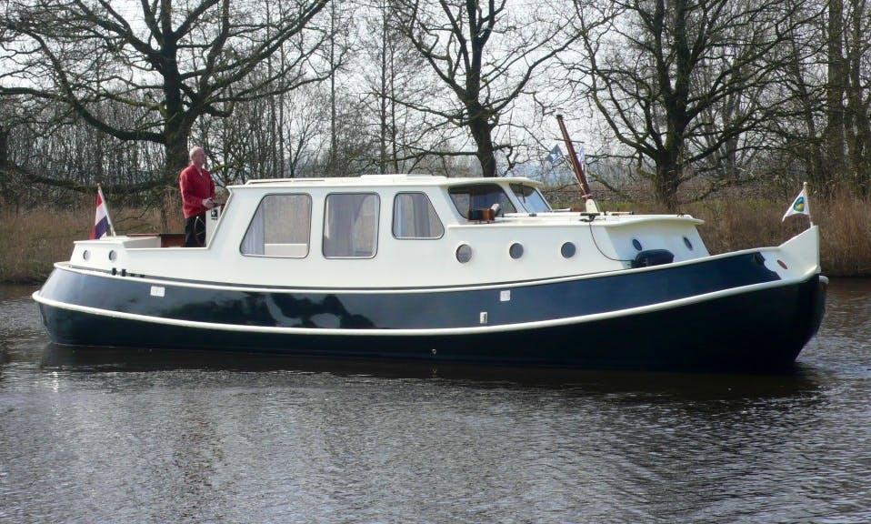 Canal Boat 36' Open Cockpit Charter in Haskerdijken, Netherlands