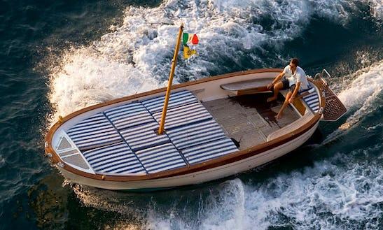 23' Gozzo Boat Rental In Campania, Italy For 8 Person