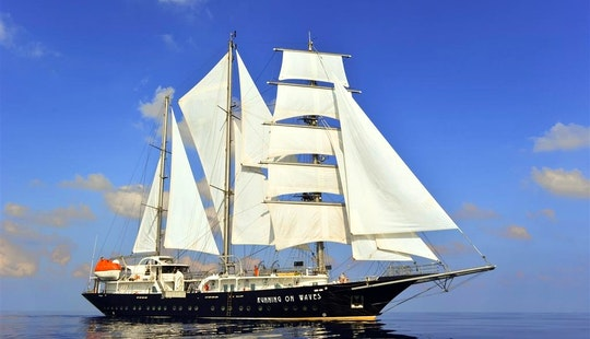 Charter The 210' Sailing Yacht Running On Waves In Greece