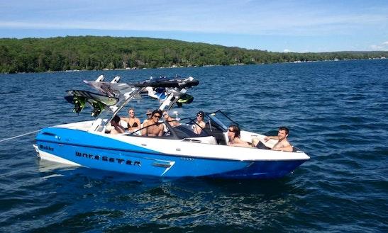 22ft Blue Wakesetter Bowrider Boat Rental In Walloon Lake, Michigan