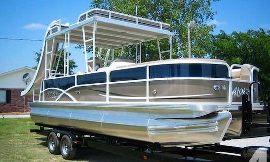 25' Pontoon Rental With Slide On Bull Shoals Lake, Arkansas