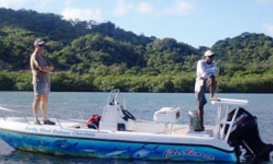 Fishing Charter On 17' Black Tip Flats Boat, In Roatan