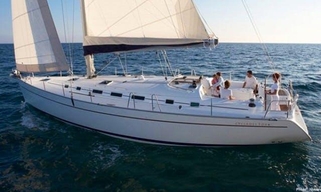 """Charter the Luxury Cruiser Beneteau Cycladed 50.5 """"Saphiso I"""" in Soúrpi"""