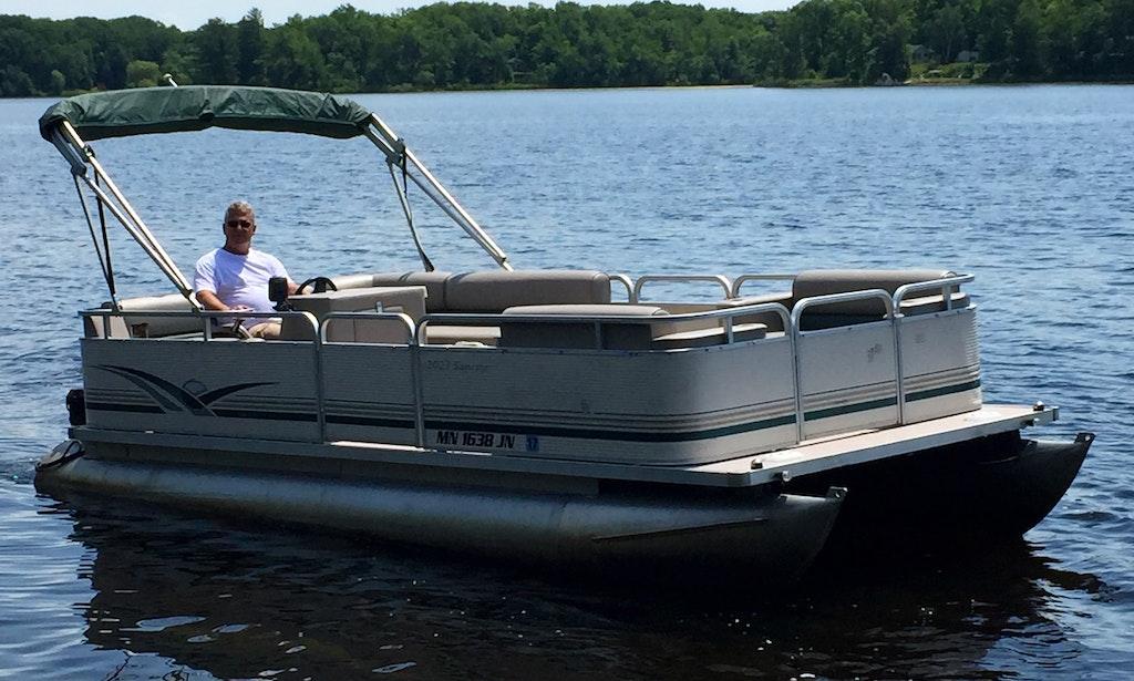 20 39 pontoon rental on cross lake getmyboat for Fishing boat rental mn