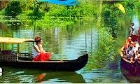 Canoeing to the river inside the village of Alappuzha, India