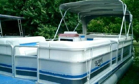 28' Pontoon Boat In Eagle Bay