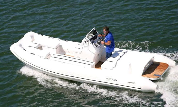 "Rent the 20' ""Sharky"" Nautica Cat Rigid Inflatable Boat in San Francisco (Captained Only)"