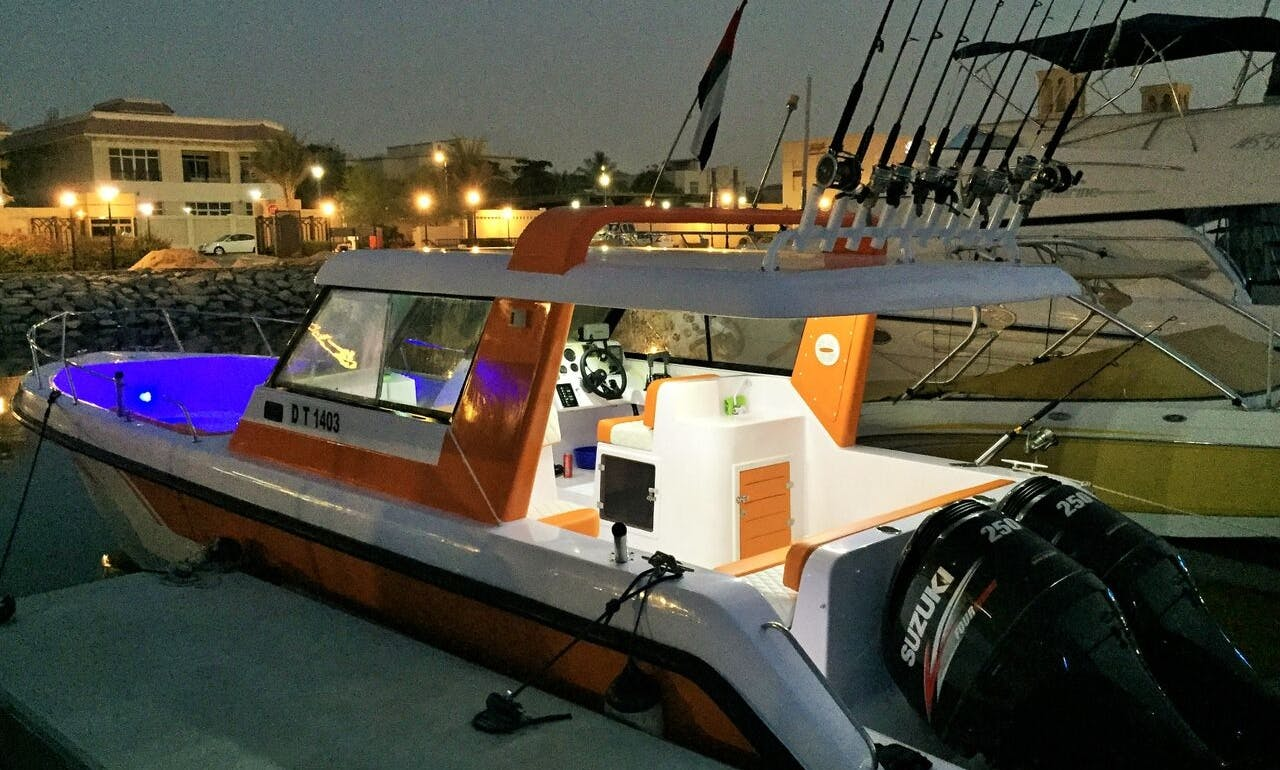 35ft Gulf Craft Dolphin Super Deluxe Fishing Charter in Dubai, United Arab Emirates