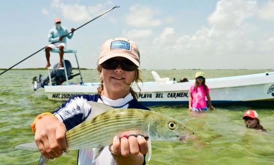 Enjoy 25' Super Panga Guided Flat Fishing In Cancún