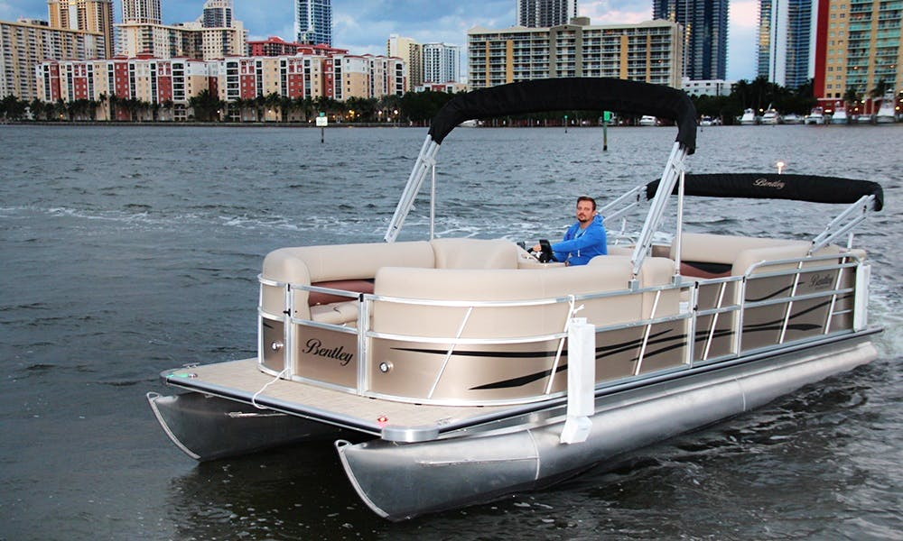 Rent 24' Pontoon Boat In North Miami Beach, Florida