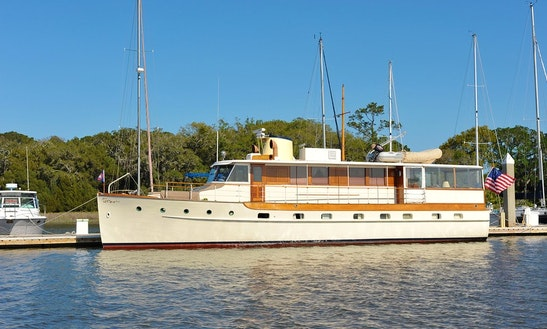 60ft Trumpy Classic Yacht Charter In Newport, Rhode Island