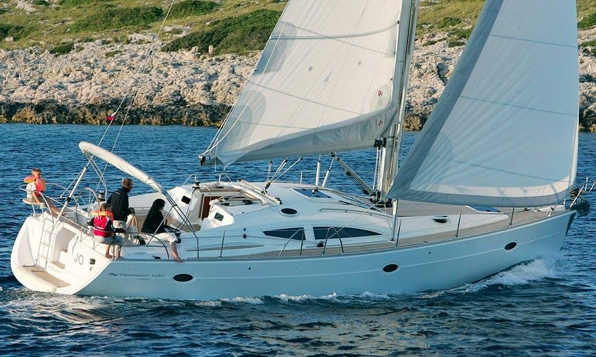 "43ft ""Teiki"" Elan Impression Cruising Monohull Boat Sailing Charter in Barcelona, Spain"