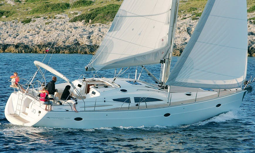 "43ft ""Teiki"" Elan Impression Cruising Monohull Boat Sailing Charter in Barcelona, Spain"