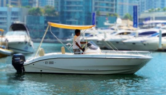 Enjoy Dubai, United Arab Emirates On 19' Sessa Marine Key Largo One Deck Boat