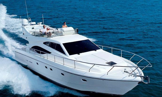 69' Ferretti Motor Yacht Tours In Santorini, Greece