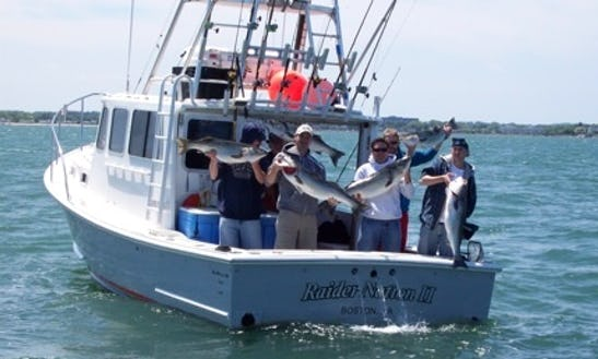 Fishing Charter On 30' Sport Fisherman In Quincy, Massachusetts