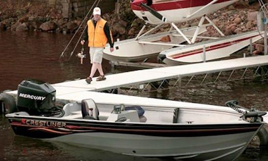 Rent 18' Crestliner 60hp Fishing Boat In Voyageurs National Park - Lake Kabetogama, Mn