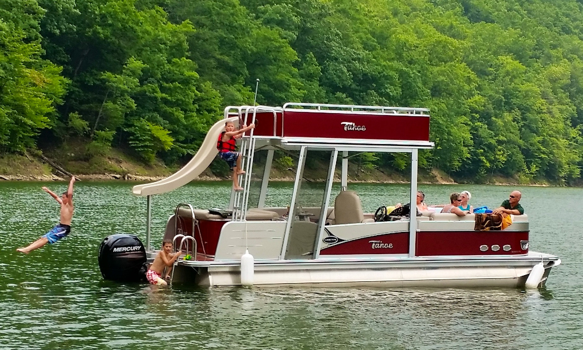 Double Deck Pontoon Boat With Water Slide Sutton Lake Wv