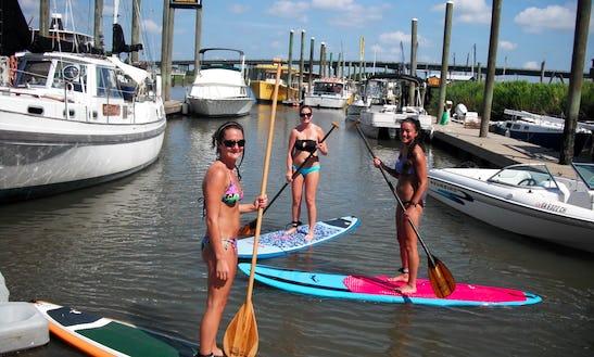 Stand Up Paddleboarding In Tybee Island, Georgia