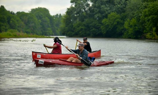 Canoe And Kayak Race On Fox River
