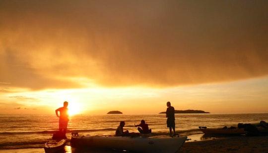 Sunset Kayak Paddling At Tanjung Aru Beach In Kota Kinabalu, Sabah
