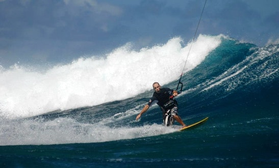 Kiteboarding In Haapiti, French Polynesia