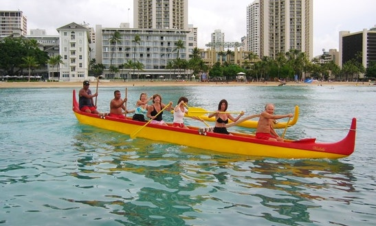 Amazing 8 Person Outrigger Canoe Ready To Rent For Groups In Honolulu, Hawaii