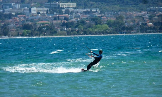 Kiteboarding In Kentrikos Tomeas Athinon, Greece
