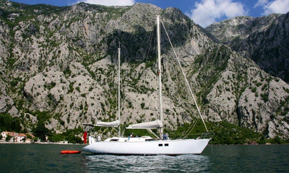 Sightseeing on a Cruising Monohull Sailboat in Baošići, Montenegro