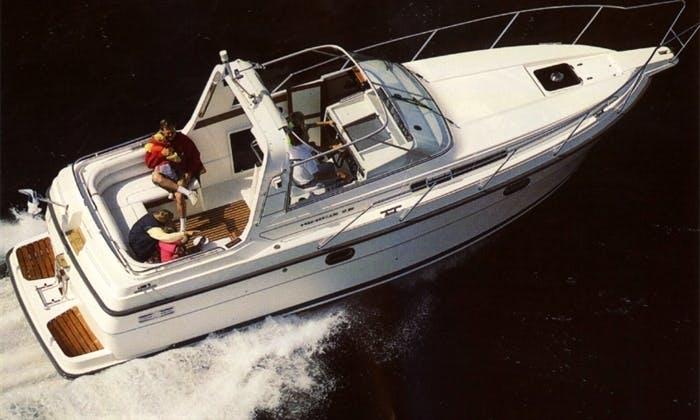 Navigate a Nimbus 28DC Motor Yacht in Harrström