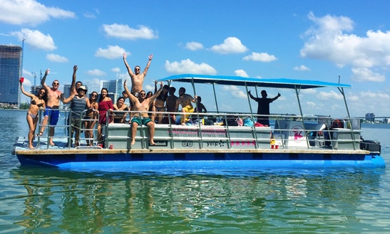 16 Guests Party Pontoon In Miami Beach