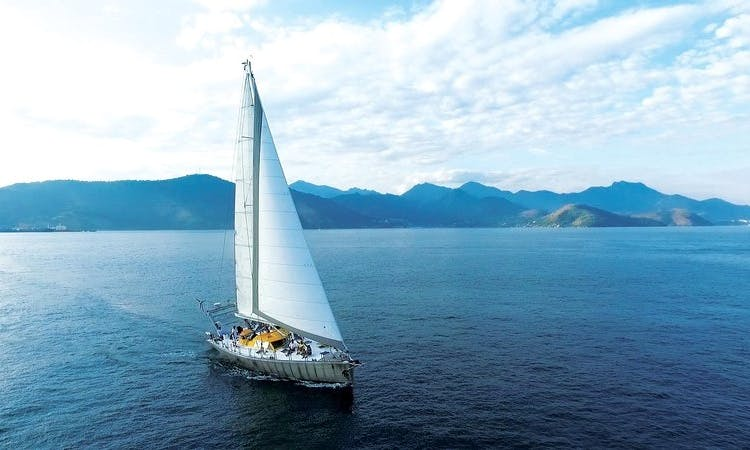 Charter for a day ride or overnight cruise in Angra dos Reis, Paraty or IlhaBela