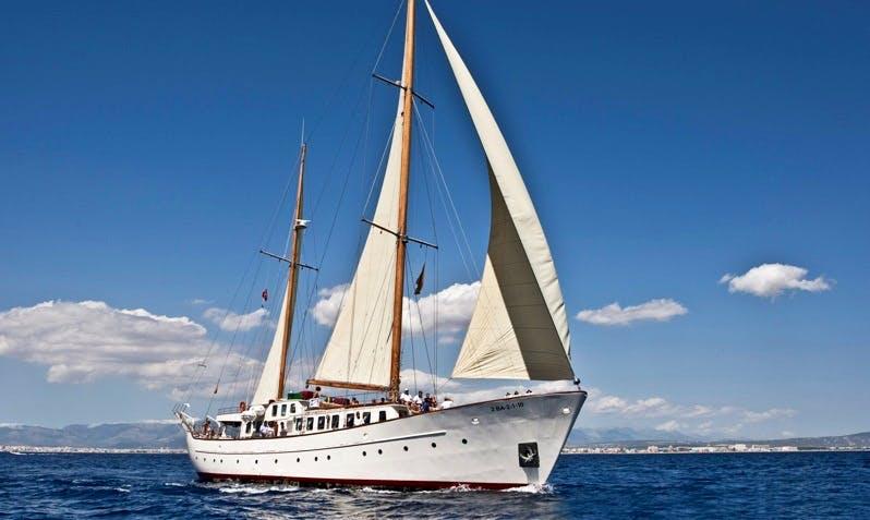 "Imagine Sailing in Barcelona, Spain On 35m ""S. Cross"" Sailing Yacht"