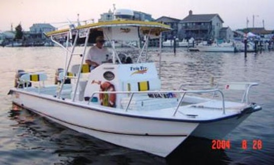 26ft Center Console Catamaran Boat Fishing Charter In Brigantine, New Jersey