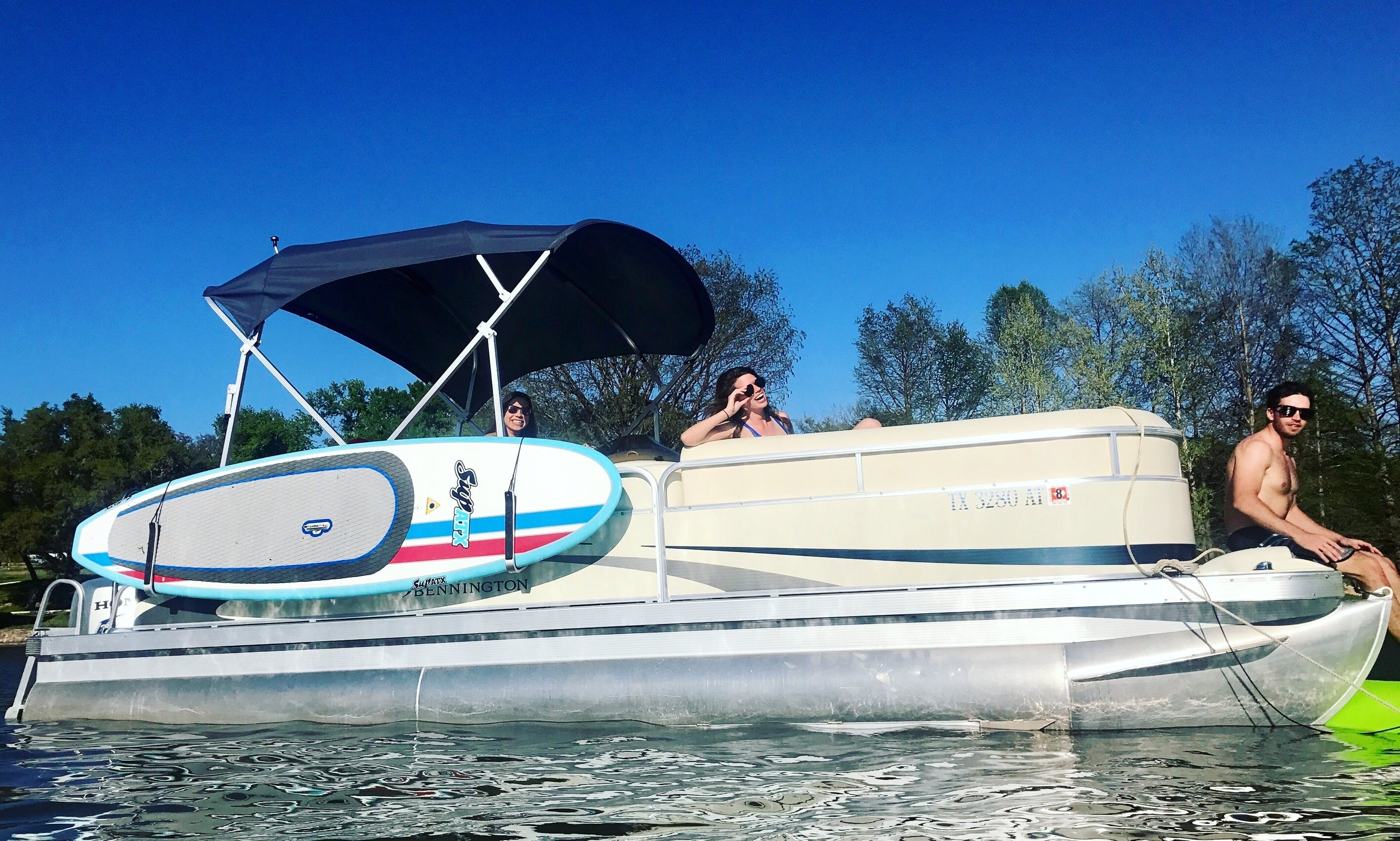 Experience Lake Austin on 23' Bennington Pontoon with Captain Cole