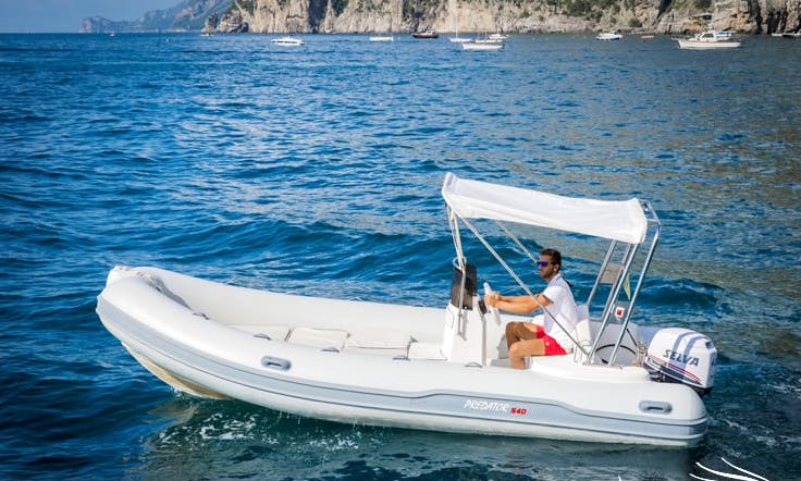 Rent 18' Predator Inflatable Boat In Positano, Italy, available with or without skipper