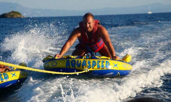 Enjoy Donut Rides At Ahladies Beach, Sporades