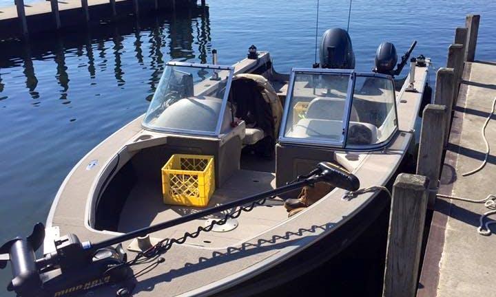 Enjoy fishing in Barcelona, New York on 21' Sylvan Excursion Boat