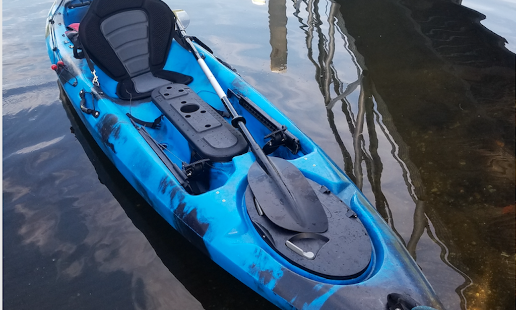 Here I am in the Old Town tandem kayak after touring the campground at Fort  Desoto Park.