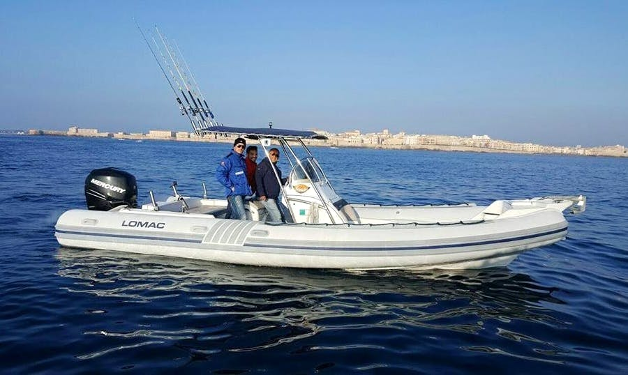 Enjoy Fishing in Trabia Sicilia, Italy on Rigid Inflatable Boat