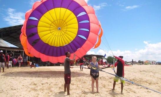Fly By Parachute Behind Boat In Kuta Selatan, Bali