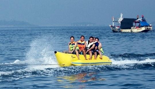 Enjoy Banana Boat Rides Adventure In Nusa Dua, Bali, Indonesia