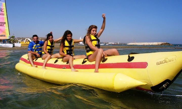 Jump To Experience The Thrill In Oroklini, Larnaca! Rent A Banana Boat!