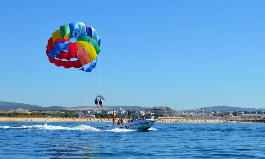 Enjoy Parasailing In Quarteira, Portugal