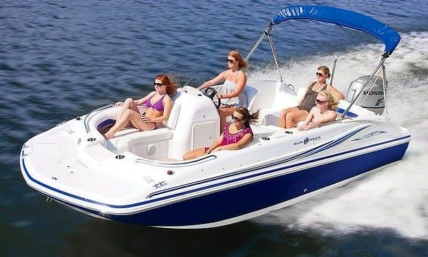 Rent the 21ft Hurricane FunDeck Boat rental in Stuart