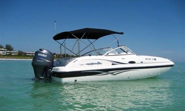 Book this 23' Hurricane Deck Boat in Stuart, Florida