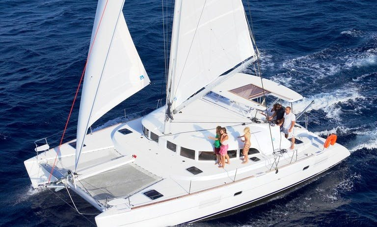 Charter 38' Cat Harsis Lagoon Cruising Catamaran at Kornati Islands, Croatia