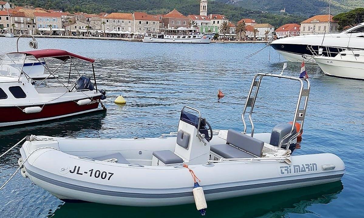 Rent 15' Trimarin TM460 Rigid Inflatable Boat in Jelsa, Hvar Island
