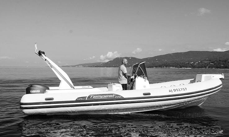 Rent 21' Semi-rigid Capelli 625 Rigid Inflatable Boat in Propriano, France